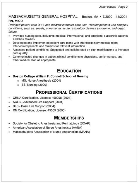 NURSE_ANESTHETIST-2 RN Resume Pinterest Nurse anesthetist - anesthetic nurse sample resume