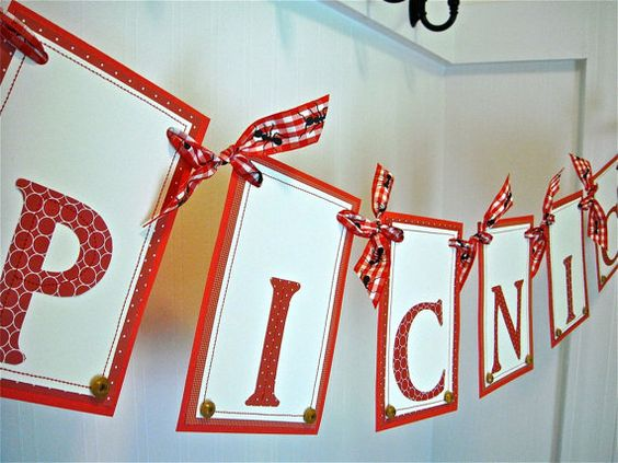 PICNIC Banner, PICNIC Garland, Red White Gingham, Black Ants, Outdoor Party Decoration, Grill Barbecue Decoration