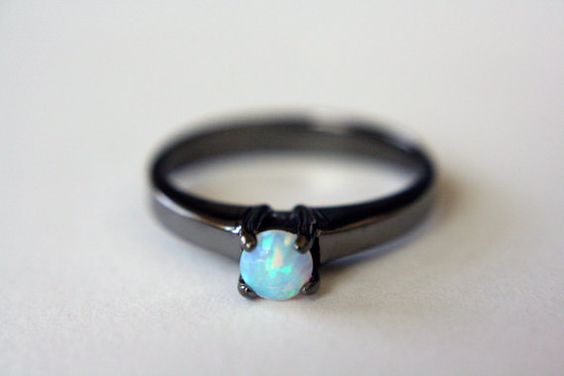Opal Solitaire Ring in Black Rhodium opal by theBEAline on Etsy