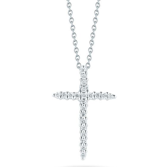 Roberto Coin Tiny Treasures White Gold Diamond Sliver Cross Necklace ($660) ❤ liked on Polyvore featuring jewelry, necklaces, pendant necklace, white gold diamond necklace, cross pendants, diamond necklace pendant and diamond cross necklace