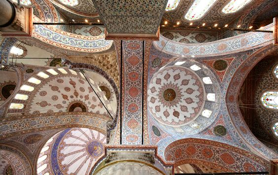 The historic Blue Mosque in Istanbul, Turkey is lined with more than 20,000 handmade ceramic tiles.