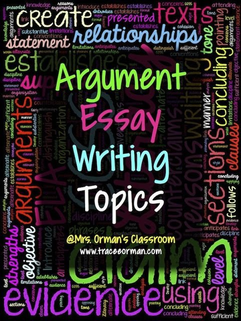 Blog post with lots of ideas: Argument Essay Writing Topics (or Claims) for Common Core Argument Writing