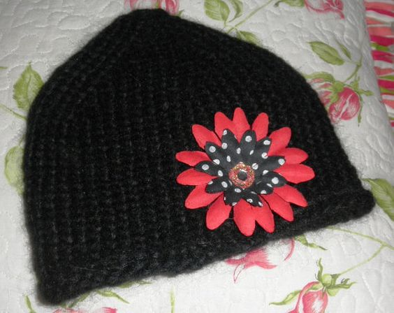Hand Knit  Black Baby Hat with Flower by WishingWellWonders, $15.00