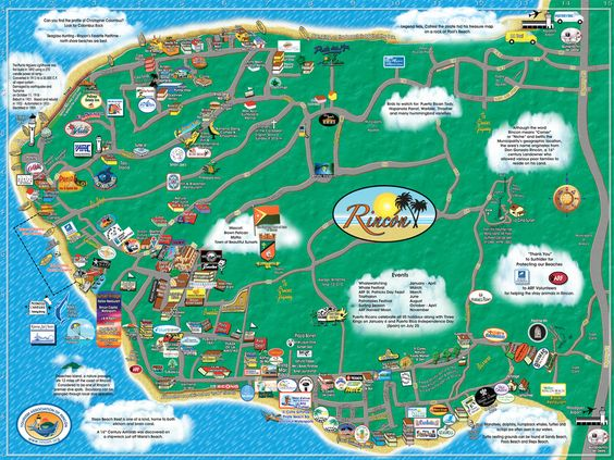Rincon Maps Tourism Association Of Rincon Puerto Rico Visitors - Geographical map of puerto rico