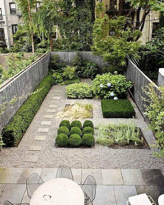 garten-ideen-design-kies-weg-gerade-formen-betonplatten-terrasse, Garten und Bauen