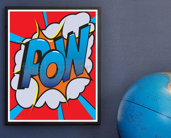 POW. Super Dynamic typography Wall Art for a boys by TheHipPear, $28.00