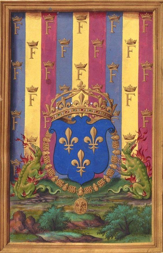 """Armes de François Ier, roi de France (f°5v) -- «La Paraphrase de Erasme de Rotredan sur l'evangile sainct Mathieu"""", 1539, traduction de René Fame» [BNF Ms Fr 934 - ark:/12148/btv1b8470211g]:"""