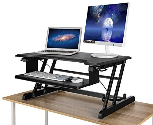 Morros Standing Desk Riser Adjustable Height Desk Converter Elevating Desktop Workstation With Keyboard T Adjustable Height Desk Standing Desk Riser Desk Riser