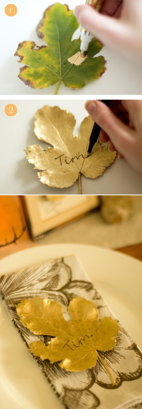 DIY gilded leaf place cards . You can use Martha Stewarts Gold paint in the tub too.  I did these big leaves from a London Plane sycamore tree last year an they are still good.  I used them for the top plate since I did not have anything gold, then put the napkin and small gold painted leaf with the napkin ring.: