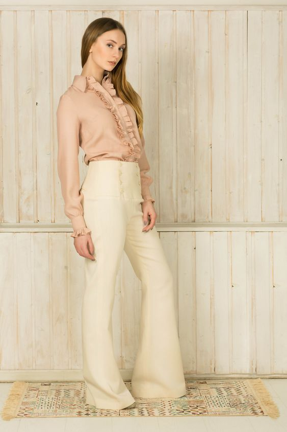 Button–embellished flared pants