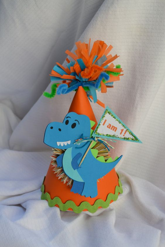 Dinosaur 1st birthday party hat by PoshBoxParties on Etsy