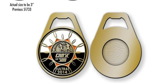 Chase the Sun Ultra & Relay medal proof. 2014. Benefitting Liam's Land Savannah, ga.