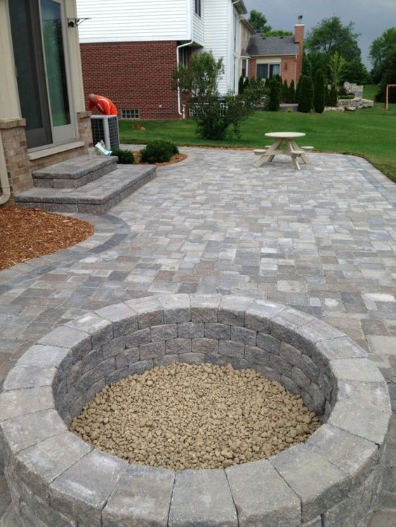 Patio Design Ideas With Fire Pits fire pit patio design ideas 8 Stone Patio With Built In Fire Pit Patio Ideas