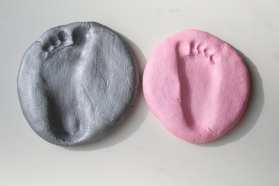 footprints and handprints in salt dough