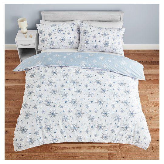 Tesco Snowflake Duvet Set Double, Double Bedding Tesco