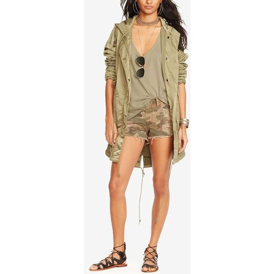 Denim & Supply Ralph Lauren Fish-Tail Military Parka ($245) ❤ liked on Polyvore featuring outerwear, coats, soldier olive, army green coat, army green hooded parka, parka coat, military style coat and military parka