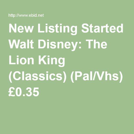 New Listing Started Walt Disney: The Lion King (Classics) (Pal/Vhs) £0.35