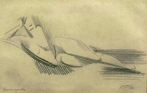 Marthe Donas (Belgian painter) 1885 - 1967 Liggend Naakt nt2, 1917 lead pencil on paper 15.0 x 23.0 cm. cm.