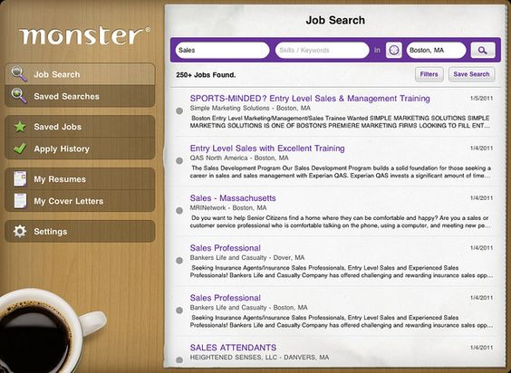 Job search results screenshot from new Monster iPad job search - search resumes on monster
