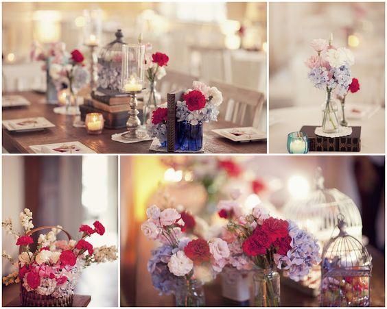 Para Falar de Casamento Decoração de casamento  Vermelho, azul e