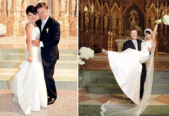 Hilaria Thomas &  Alec Baldwin's wedding. Hilaria wears #amsale