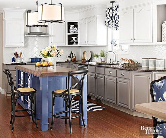 of this modern meets classic kitchen thanks to a coat of royal blue