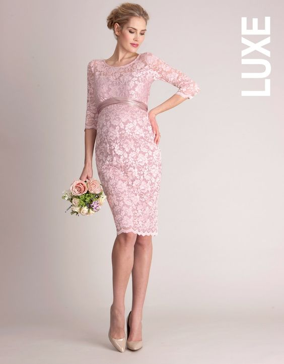 <ul> <li>Made in luxury stretch lace</li> <li>Keyhole button detailing at the back</li> <li>Detachable sash</li> </ul> <p> Worn by The Saturdays singer Frankie Bridge on the cover of Hello! Magazine, this is a glamorous option for a special occasion. Made in luxury blush pink lace with a supreme level of stretch; the fine, delicate look of this Lace Maternity Cocktail Dress belies its true ability to provide a flexible fit for every stage of pregnancy. Feminine in fit, this lace maternity…