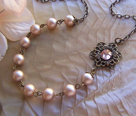 Vintage Inspired Necklace  Antiqued Brass and by lecollezione, $39.50