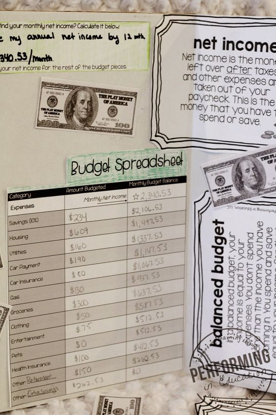 Project Based Learning: Creating a Personal Budget - meeting TEKS financial literacy standards and common core math #PBL