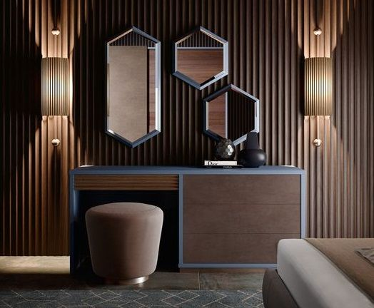 Wooden Modern Dressing Table With Volumetric Mirrors The Dressing Table Is An Interior Modern Dressing Table Designs Luxurious Bedrooms Dressing Table Design Dressing table in bedroom interior