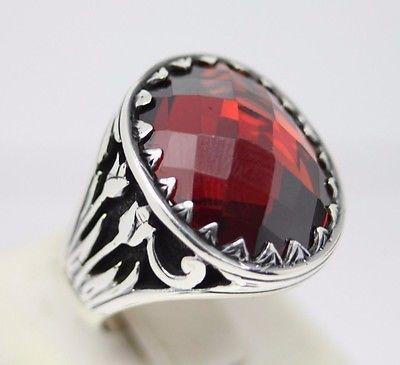 Turkish Handmade 925 Sterling Silver Ruby Mens Ring Sz 10 (free resize)