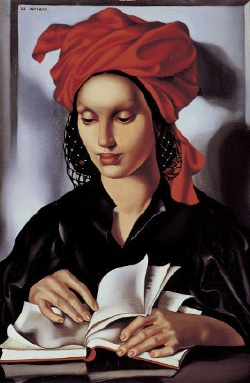 Woman reading, by Tamara de Lempicka (Polish, 1898-1980):