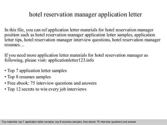 hotel reservation manager application letter this file you can ref - reservation specialist sample resume