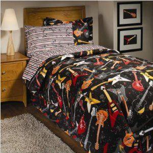 Rock Star Guitar Comforter Set 6 Piece Bed In A Bag