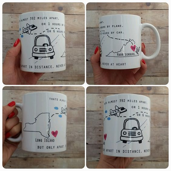 Long distance mug state to state graduation gift or moving for Going away gifts for boyfriend