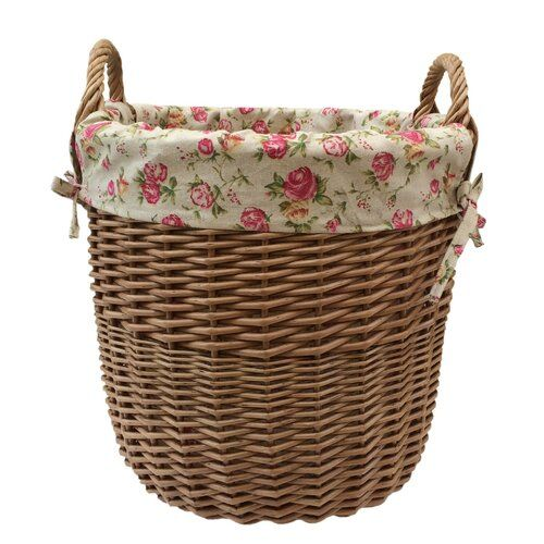 Large Garden Rose Lining Wicker Basket August Grove Colour Brown Wicker Lined Wicker Baskets Linen Baskets