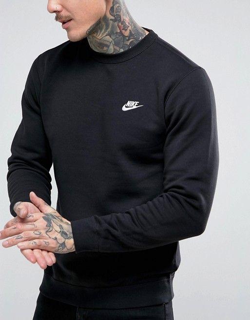 vast selection factory price recognized brands Nike Club swoosh crew sweatshirt in black 804340-010 in 2019 ...