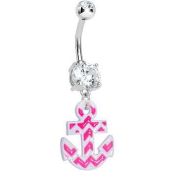 Clear Gem Pink and White Chevron Anchor Dangle Belly Ring | Body Candy Body Jewelry #bodycandy #anchor
