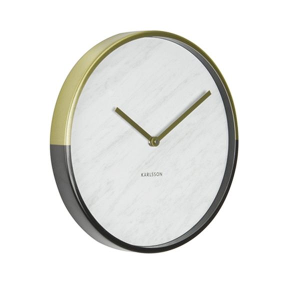 Marble & Gold Clock by Dutch designers Karlsson. This stylish clock comes in a black and gold design with a marble print face.The face is finishedwith two matching gold hands that contrast with the face. Karlsson are famous for their timeless design of unique clocks, that incorporate ingenious concepts, fantastic bright shades and innovative design.