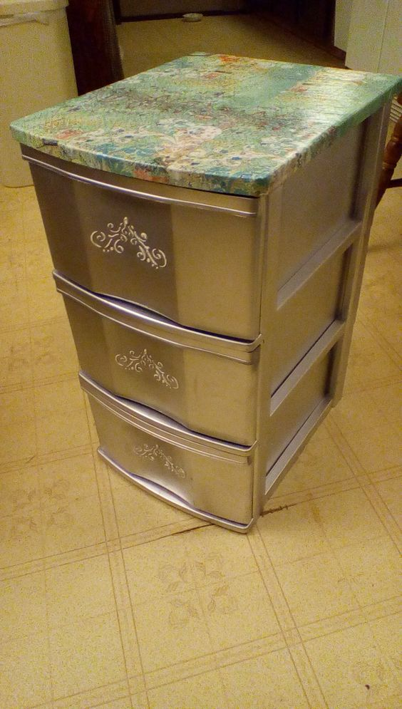Plastic Sterlite Drawers With Decoupage Top Silver Paint