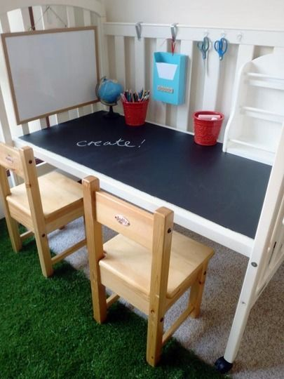 Ways to repurpose old cribs! This one is a craft station, another one was turned into a day bed!