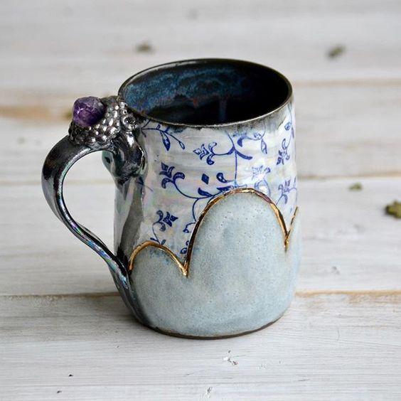 Ceramic mug handmade pottery cloud mug with amethyst stone #ceramics #pottery #coffeemug