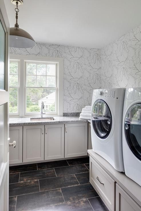White And Gray Marbled Wallpaper Beautiful Complements A Laundry