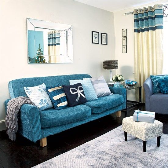 Festive Teal And Silver Living Room Scheme | Teal Sofa, Teal Living Rooms  And Living Rooms