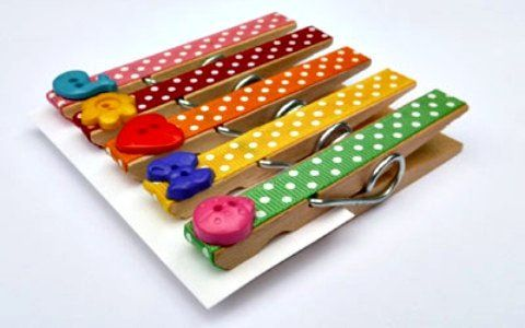 Kids decorate clothespins (paint, ribbon, buttons, etc.) & put magnet on back for fridge magnets.