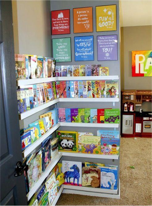 Nursery, baby room, book shelf, organization