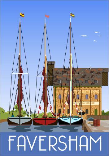 Faversham Creek & Thames Sailing Barges, Iron Wharf, Standard Quay. Greta, Decima and Lady of the Lea.