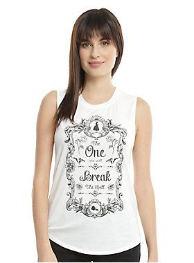 "Sleeveless white top from Disney's <i>Beauty and the Beast</i> featuring a framed text design on front that reads ""The One Who Will Break The Spell.""<br><ul><li style=""list-style-position: inside !important; list-style-type: disc !important"">95% rayon; 5% spandex</li><li style=""list-style-position: inside !important; list-style-type: disc !important"">Wash cold; dry low</li><li style=""list-style-position: inside !important; list-style-type: disc !important"">Imported</li><li style=""list-style-...:"