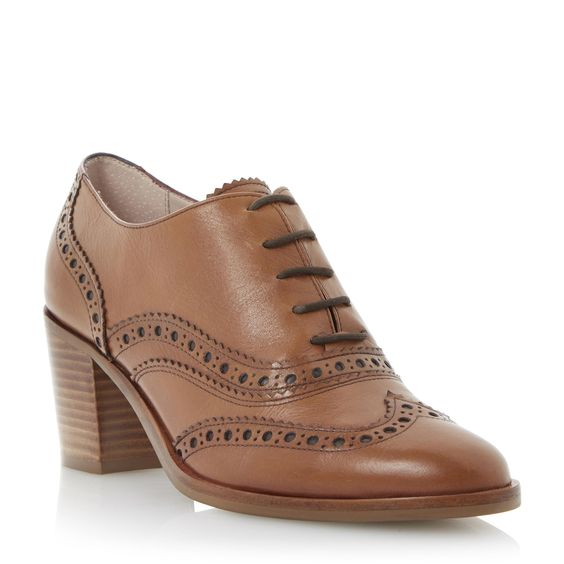 DUNE LADIES LACIE - Block Heel Lace Up Leather Brogue - tan | Dune Shoes Online