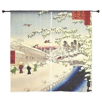 Vintage Japanese painting in Winter Curtains